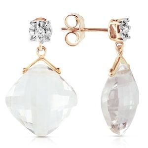 GOLD STUD EARRINGS WITH DIAMONDS & WHITE TOPAZ
